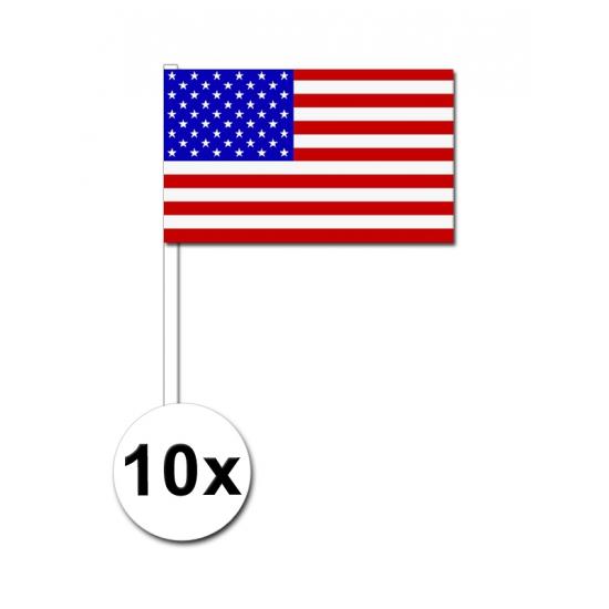 10 zwaaivlaggetjes Amerika 12 x 24 cm