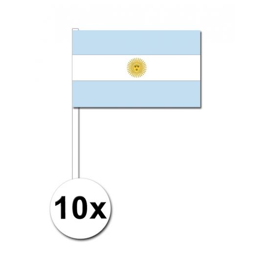 10 zwaaivlaggetjes Argentinie 12 x 24 cm