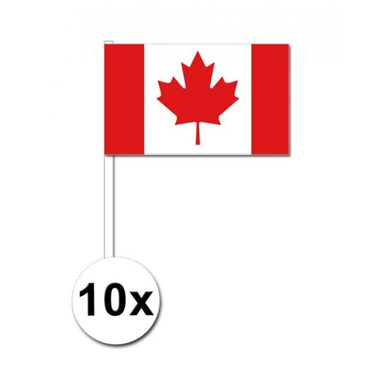 10 zwaaivlaggetjes Canada 12 x 24 cm