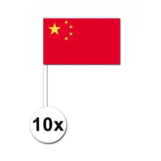 10 zwaaivlaggetjes China 12 x 24 cm