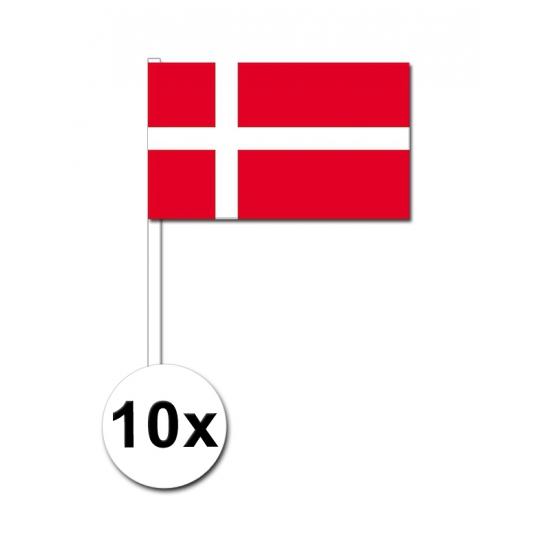 10 zwaaivlaggetjes Deense vlag