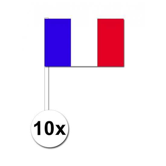 10 zwaaivlaggetjes Frankrijk 12 x 24 cm