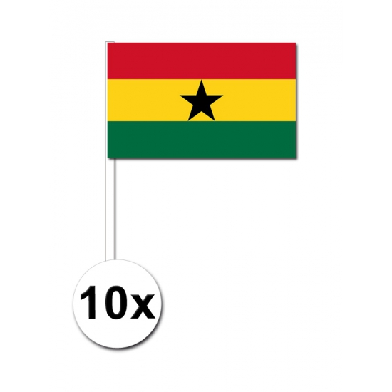 10 zwaaivlaggetjes Ghanese vlag