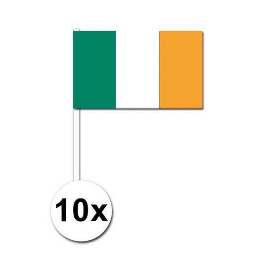 10 zwaaivlaggetjes Ierland 12 x 24 cm