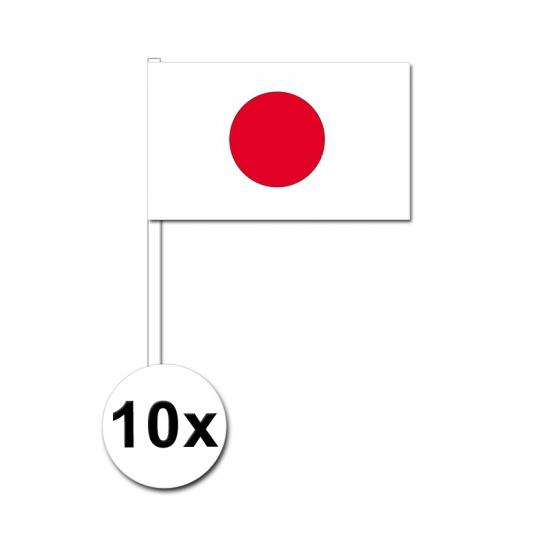 10 zwaaivlaggetjes Japan 12 x 24 cm