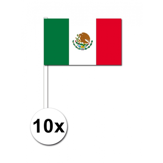 10 zwaaivlaggetjes Mexico 12 x 24 cm