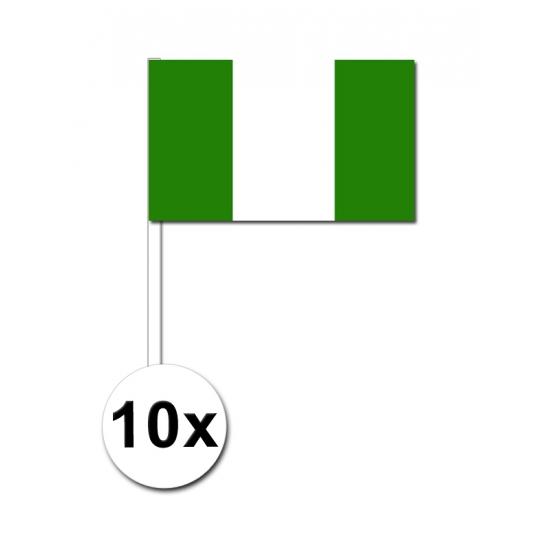10 zwaaivlaggetjes Nigeria 12 x 24 cm