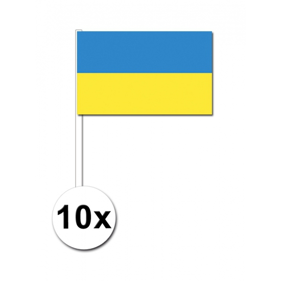 10 zwaaivlaggetjes Oekraine 12 x 24 cm
