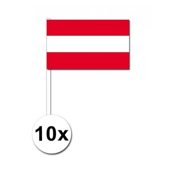 10 zwaaivlaggetjes Oostenrijk 12 x 24 cm