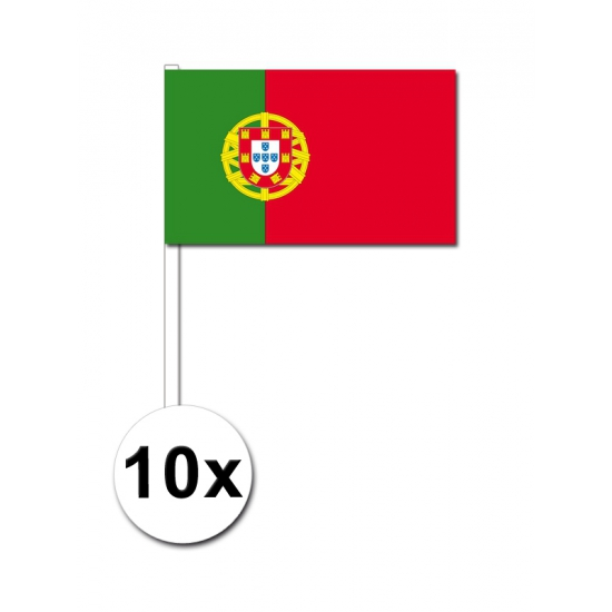 10 zwaaivlaggetjes Portugese vlag