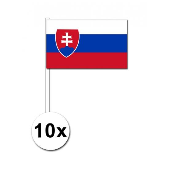 10 zwaaivlaggetjes Slowakije 12 x 24 cm