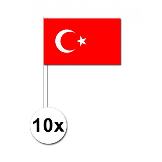 10 zwaaivlaggetjes Turkije 12 x 24 cm