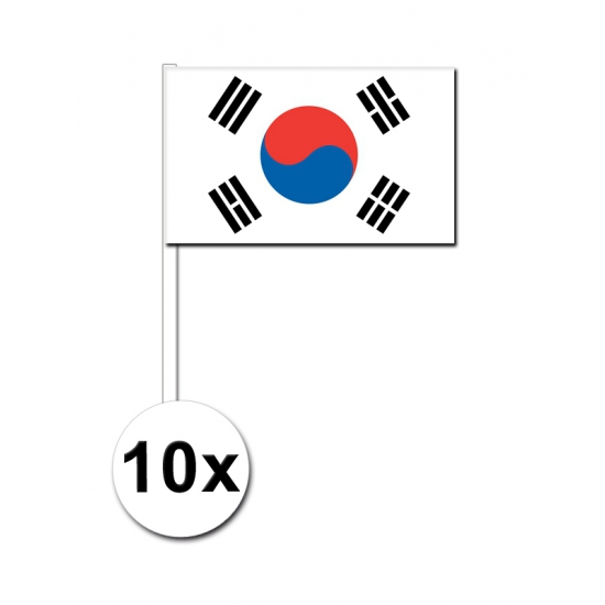 10 zwaaivlaggetjes Zuid Korea 12 x 24 cm