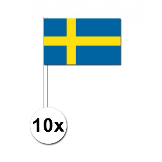 10 zwaaivlaggetjes Zweedse vlag
