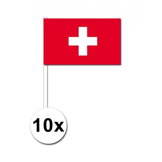 10 zwaaivlaggetjes Zwitserland 12 x 24 cm
