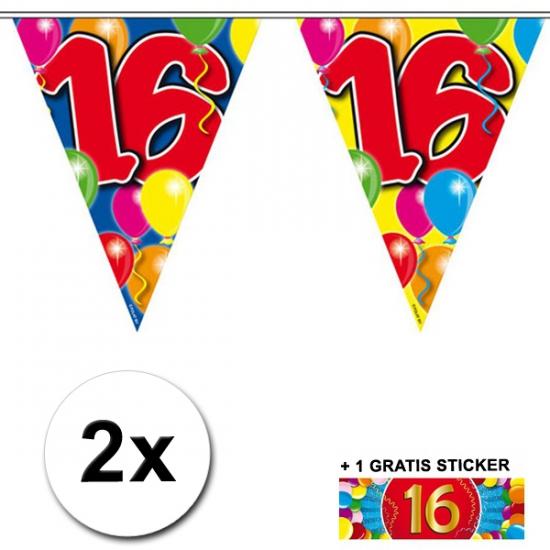 16 jaar vlaggenlijnen 2x met gratis sticker