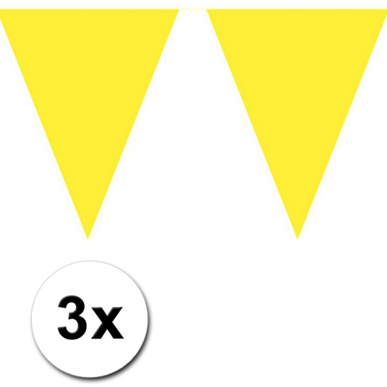 3x 10 meter vlaggenlijn geel
