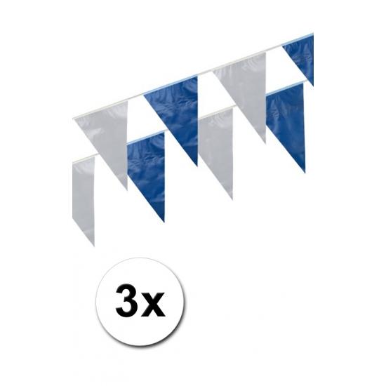 3x Blauw en witte vlaggenlijnen