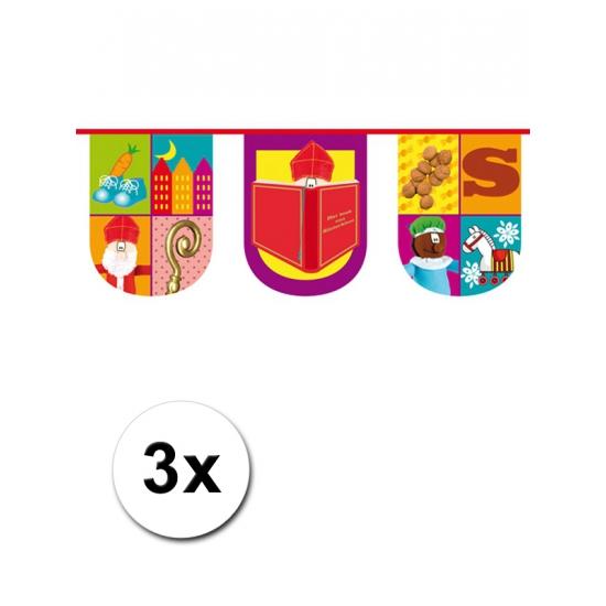 3x Halfronde vlaggenlijn trendy Sinterklaas