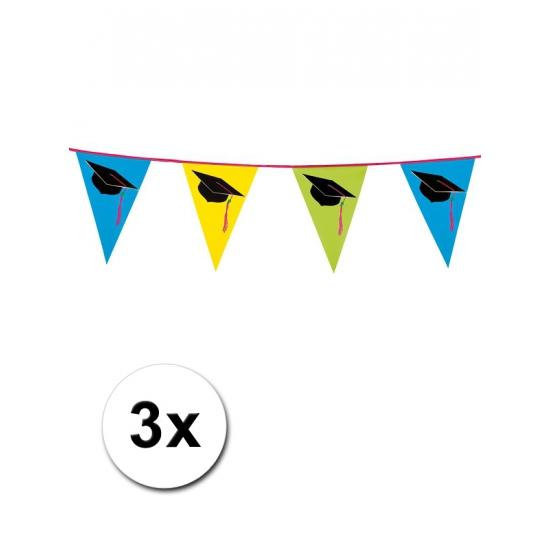 3x Plastic Geslaagd vlaggenlijn 6 meter