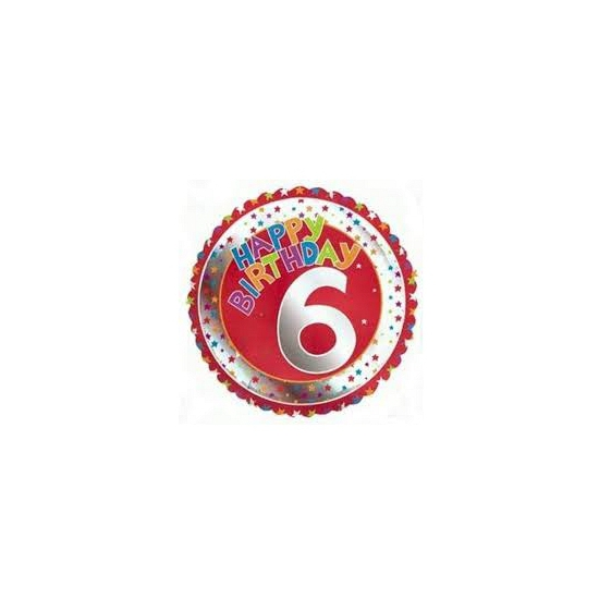 6 jaar helium ballon Happy Birthday