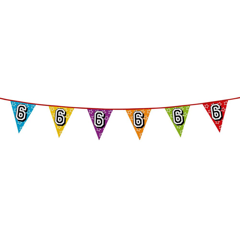 6 jaar vlaggenlijn glitters