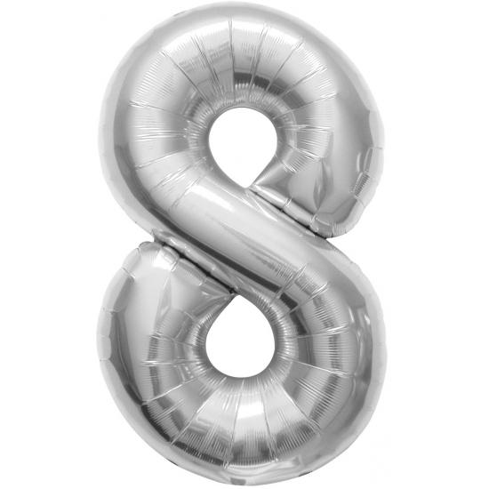 8 jaar helium ballon zilver