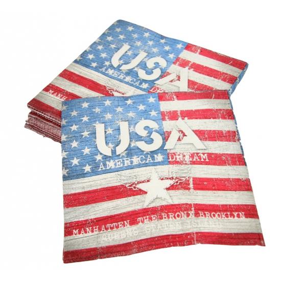 Amerikaanse vlag bedrukt op servetten 20 stuks