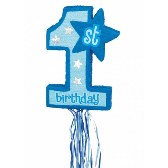 Blauwe 1e verjaardag pinata