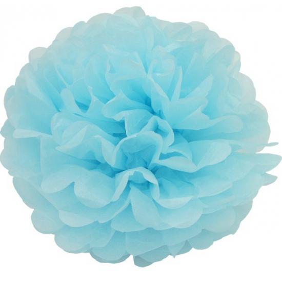 Blauwe pompom versiering 25 cm