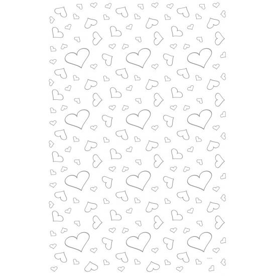 Bruiloft witte loper met hartjes 4,5 x 60 cm