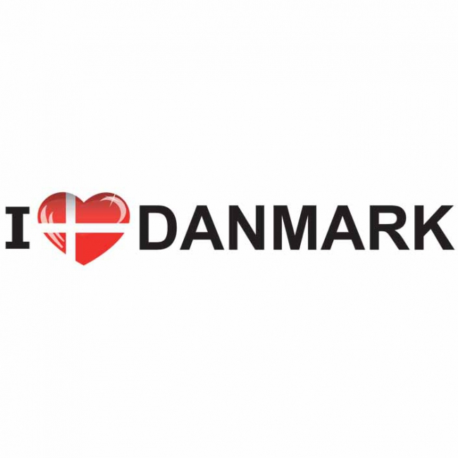 Bumper sticker I Love Denmark