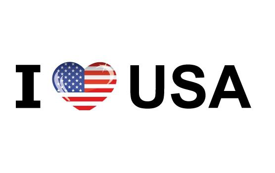 Bumper sticker I Love USA