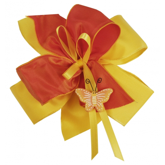 Cadeau strik van stof geel / oranje