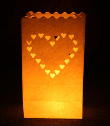 Candle Bags met harten sjabloon
