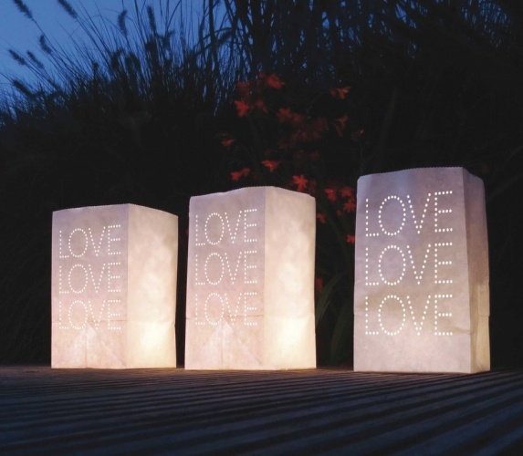 Candle Bags wit met LOVE sjabloon