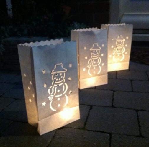 Candle Bags wit met sneeuwman sjabloon