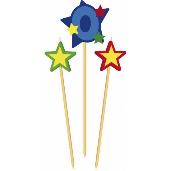 Cijfer 0 prikker kaars met sterren
