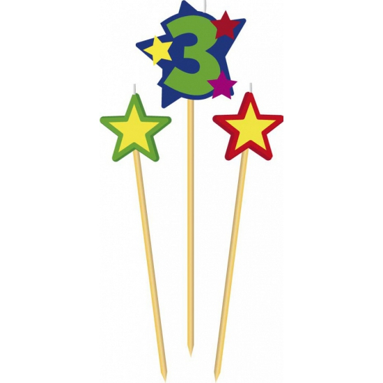 Cijfer 3 prikker kaars met sterren