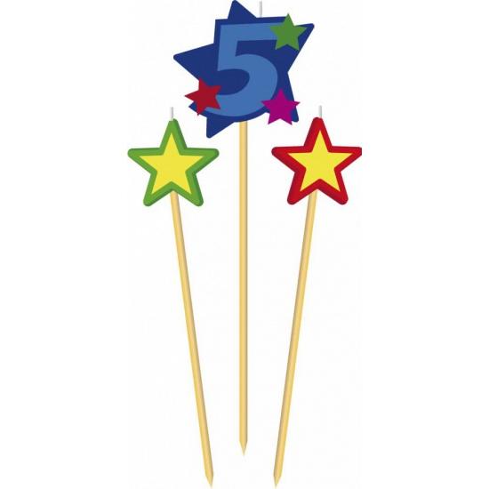 Cijfer 5 prikker kaars met sterren