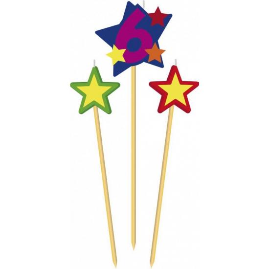 Cijfer 6 prikker kaars met sterren