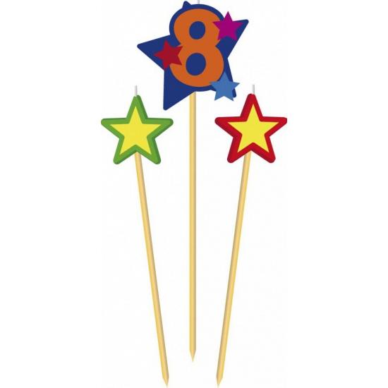 Cijfer 8 prikker kaars met sterren