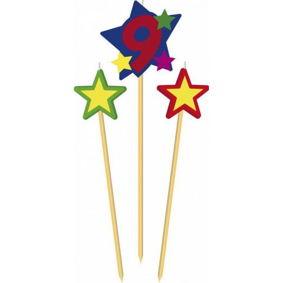 Cijfer 9 prikker kaars met sterren