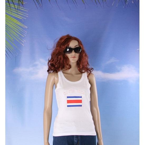 Costa Rica vlag tanktop/ singlet voor dames