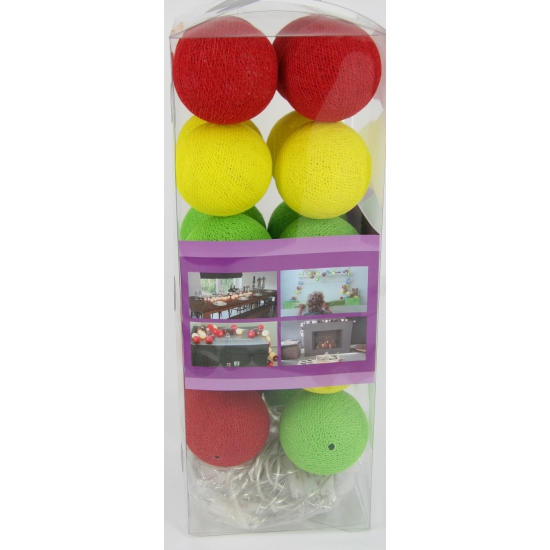 Cotton Balls lichtsnoer rood, geel, groen