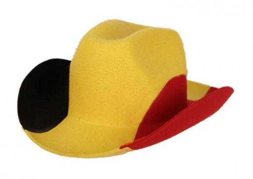 Cowboyhoed Belgie zwart geel rood