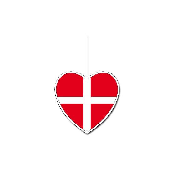 Decoratie hart Denemarken 14 cm