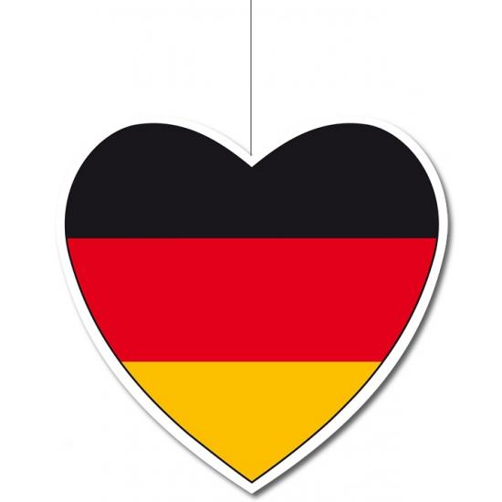 Decoratie hart Duitsland 14 cm