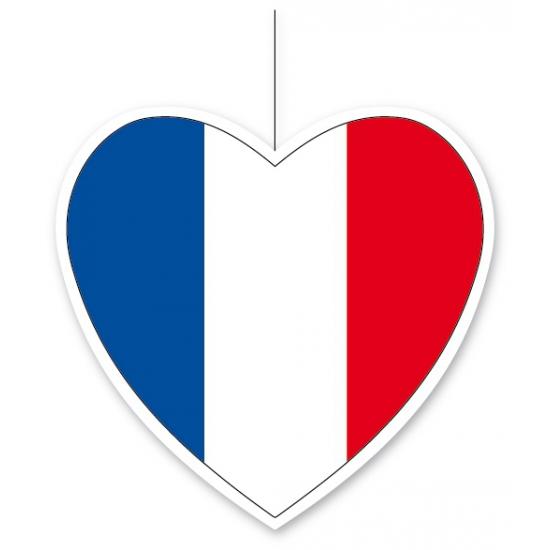 Decoratie hart met Franse vlag 14 cm