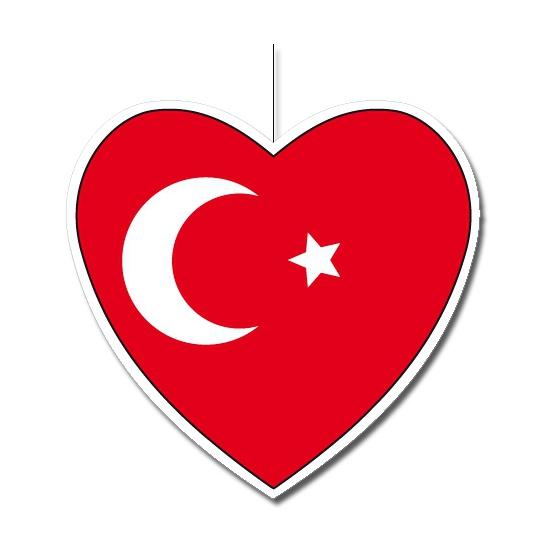 Decoratie hart met Turkse vlag 30 cm